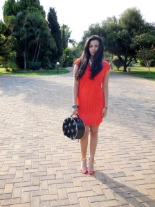 Wearing a Red Herring Coral Lace Dress. Asos Heels. Zara Pearl Necklace and Vintage Travel Bag.