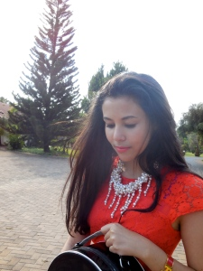 Wearing a Red Herring Coral Lace Dress. Zara Pearl Necklace. Hermes H Clic Clac Bracelet.