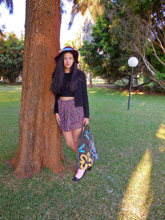 "Wearing an H&M hat, Miss Selfridge Cardigan, H&M top, Topshop socks, Burberry Prorsum ""Bloomsbury Bag"""